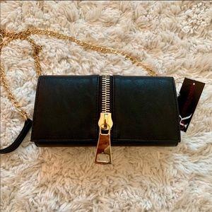 Black clutch with strap
